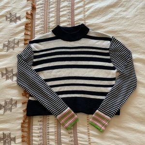 US 2 Topshop Striped Cropped Sweater